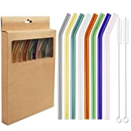 Tomnk Reusable Glass Drinking Straws, Set of 8 Bent Straws with 2 Cleaning Brushes Multi Color Shatter Resistant Eco Friendly Straws