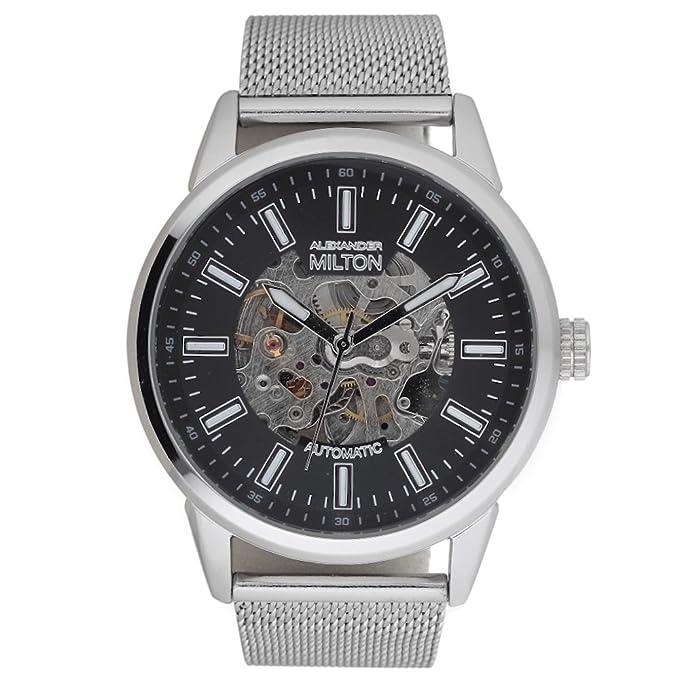 Alexander Milton Kronos Reloj automático, acero inoxidable, color negro y plateado: Amazon.es: Relojes