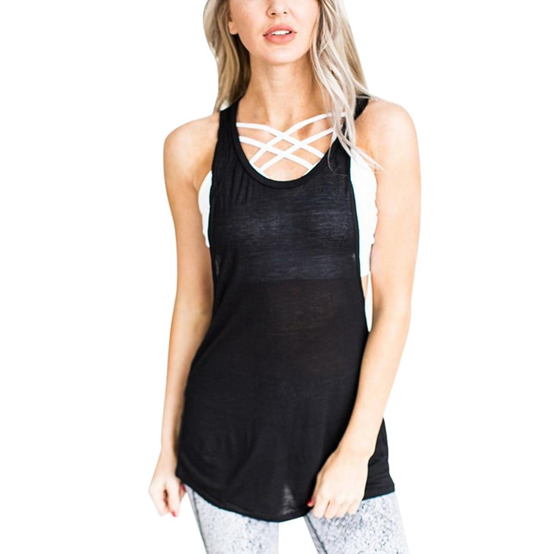8e69e87315add1 chic Wenyujh Damen Mädchen Top Sommer Sport Yoga Shirt Ärmellos Rückenfrei  Oberteil