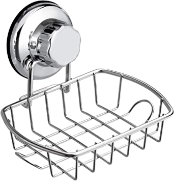 Suction Cup Soap Dish Drain Tray Holder Storage Rack Bathroom Shower Access LA