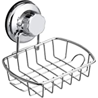 SANNO Suction Soap Dish Holder with Hook, Soap Saver Soap Holder Soap Tray Bar Soap Sponge Holder for Shower, Bathroom, Tub and Kitchen Sink