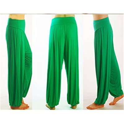 ECYC Women Yoga Bloomers Dance TaiChi Loose Capri Pants No Shrink Plus Size