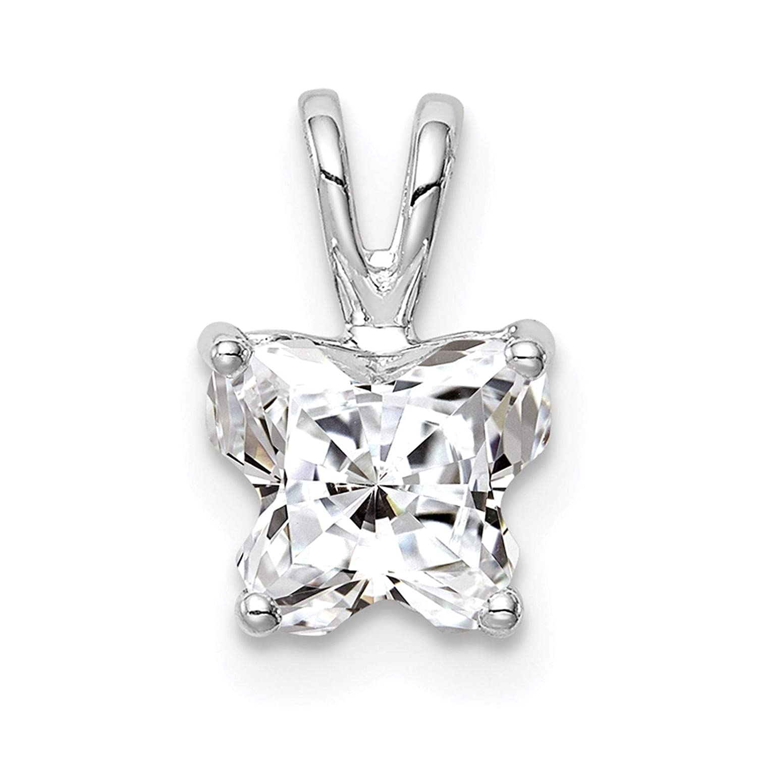 925 Sterling Silver Rhodium-plated Polished CZ Butterfly Charm Pendant