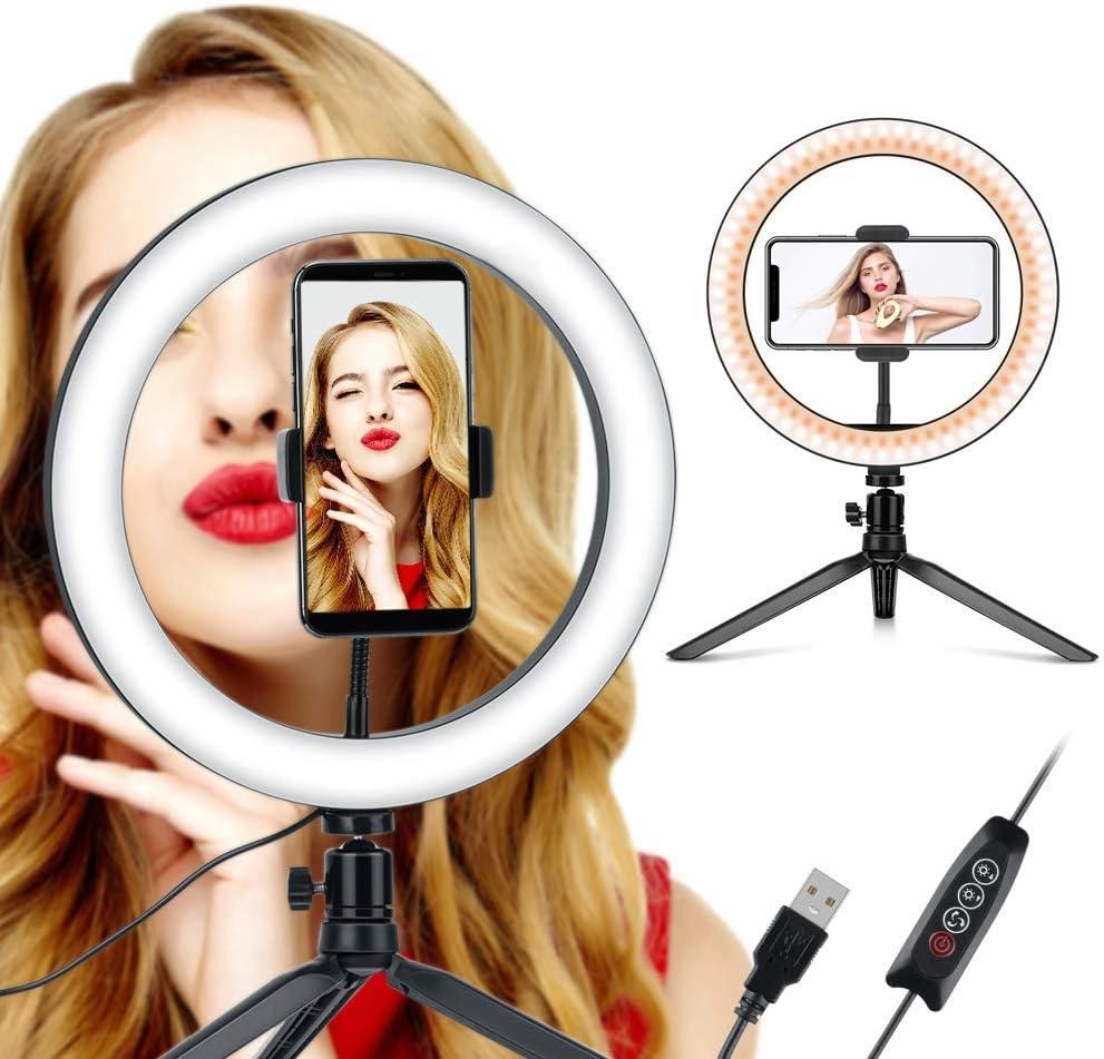 10 Pulgadas 10Selfie Ring Light Maquillaje Regulable Coolwill LED Luz de Relleno con tr/ípode Retrato Live Light para Hermosas Fotos o Video Maquillaje etc. Live Streaming
