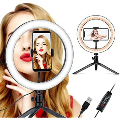 "Coolwill LED Luz de Relleno con trípode, 10""Selfie Ring Light Maquillaje Regulable, Live Light para Hermosas Fotos o Video, Live Streaming, Retrato, Maquillaje, etc. (10 Pulgadas)"