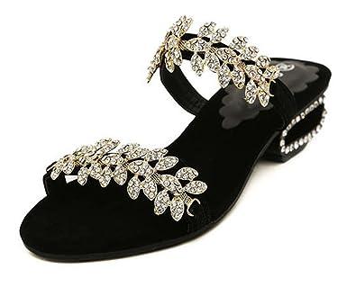 981bf09fb SHOWHOW Women s Bling Rhinestone Open Toe Slide Mule Sandals Black 4 B(M) US