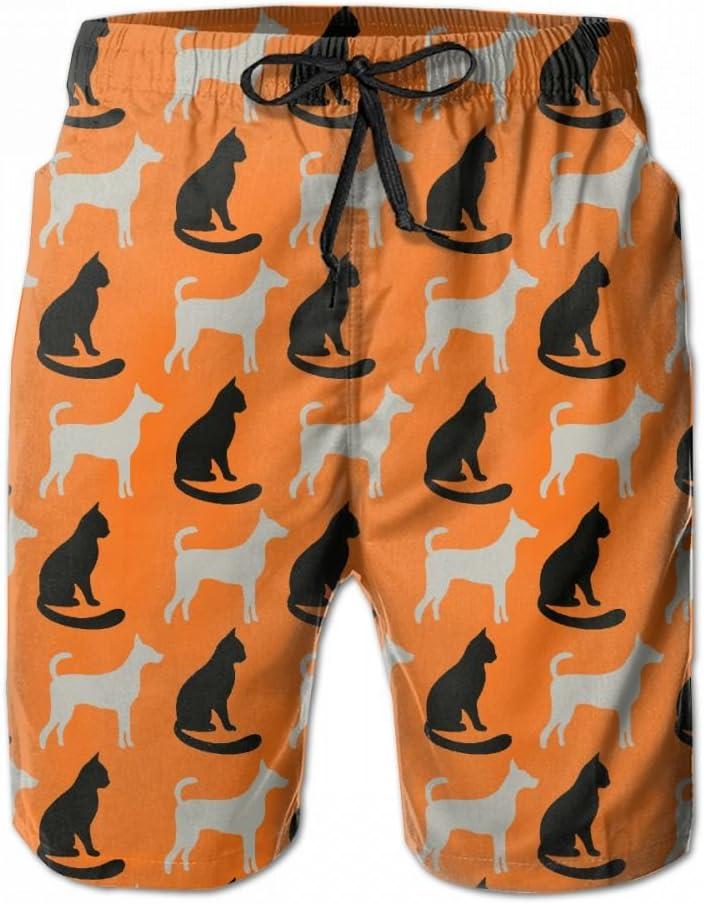 Li Chunxu Boys Swim Trunks Popular Quick Dry Beach Board Shorts Black Cat And Cute Dog Elastic Drawstring Surfing Shorts