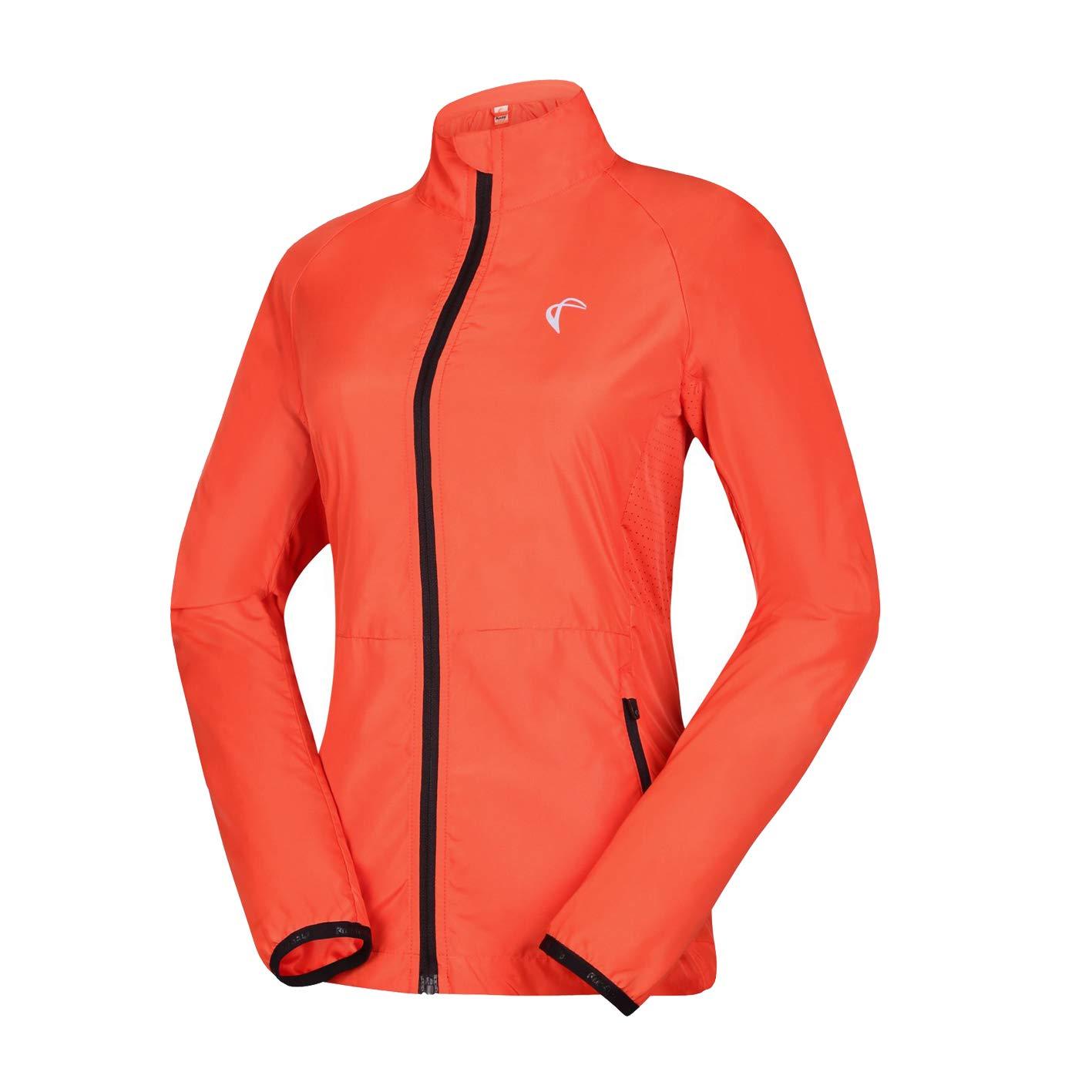 J.CARP Women's Packable Windbreaker Jacket, Super Lightweight and Visible, Outdoor Active Cycling Running Skin Coat, Orange M by J.CARP