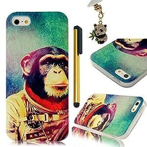 Sunshine Case 5S Case iPhone 5 Case Coloful Painted PC Protective Case for iPhone 5 5S Cover Case +1x Stylus Pen +1x Auti Dust Plug - Orangutan