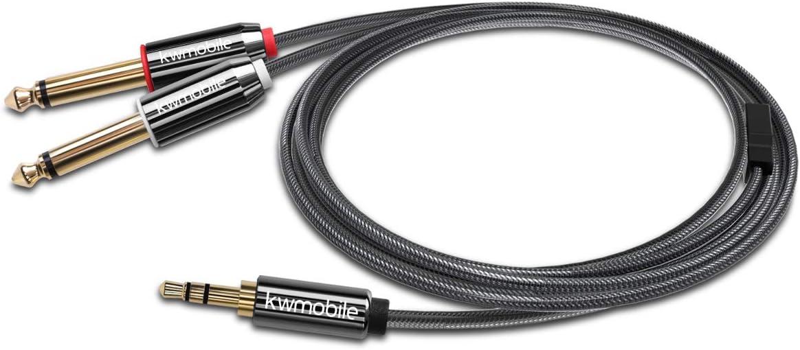 Dual Klinken Adapter Audio Klinkenkabel Splitter kwmobile 3.5mm auf 6.35mm Y Mono Audiokabel 1x 3,5 mm Klinke 2x 6,35 mm Klinkenstecker 2m
