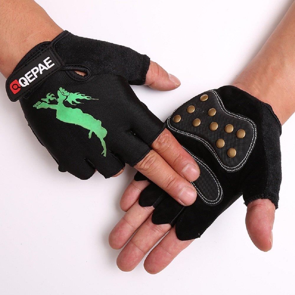 TofernユニセックスProfessional Half FingerグローブLuminous指なし手袋のスケートボードスケート B07517B3D6 XL: Palm width 3.5~4