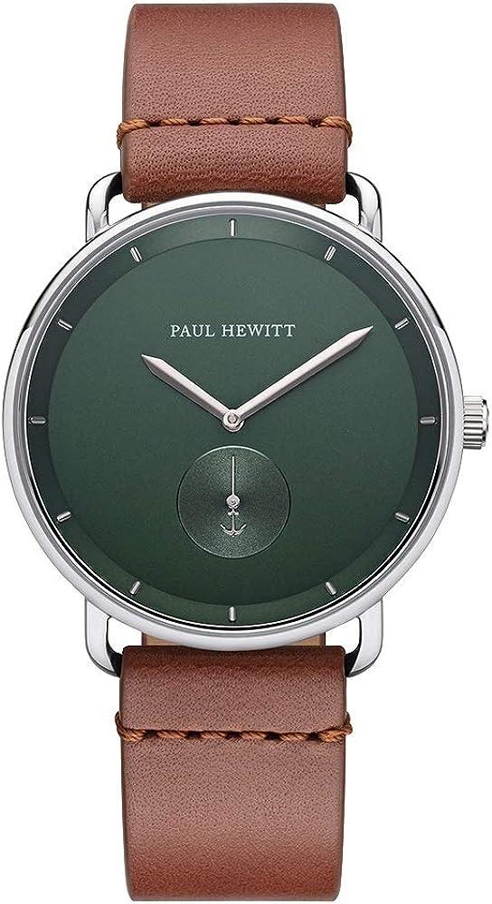 PAUL HEWITT Reloj de Pulsera para Hombre en Acero Inoxidable Breakwater Forest Green - Reloj con Correa de Cuero marrón Claro, Reloj de muñeca para Hombre con Esfera Verde y Detalles en Plata