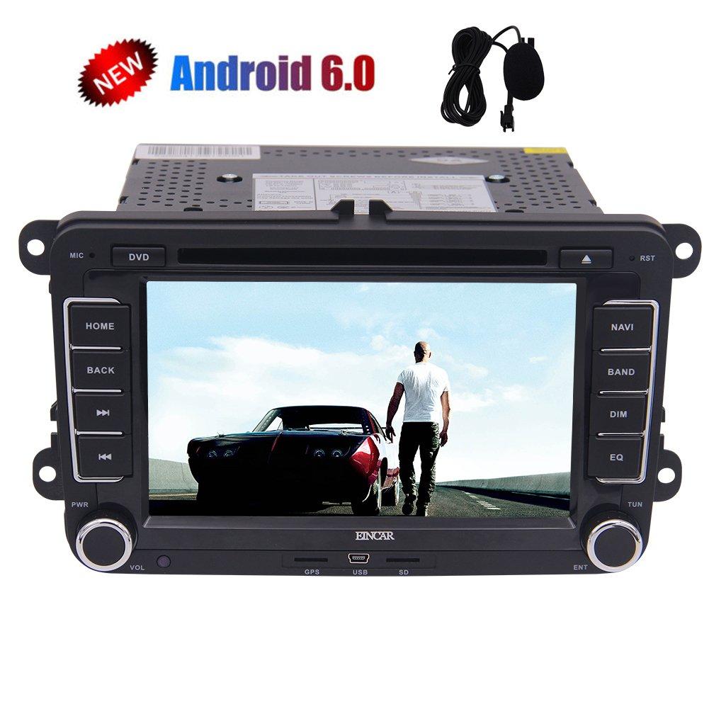 HD 7インチダブルディンカーステレオクアッドコアのAndroid 6.0システム、3D GPSナビVWゴルフポロパサートティグアンジェッタEOS +無線LANドングル+ Cpacitive画面用ダッシュAutoradioブルートゥースCD DVDビデオプレーヤーヘッドユニット+ CANBUS +外部マイクロで B075FS79LJ