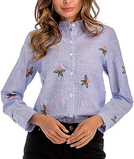 AnyuA Manga Larga Rayas Camisa con Estampado de Flores para Mujer: Amazon.es: Ropa y accesorios