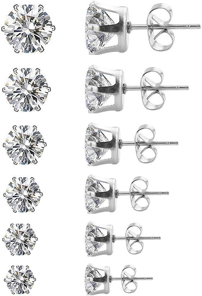 6 Pairs Cubic Zirconia Studs Stainless Steel Earrings Set Earrings 3-8mm for women men