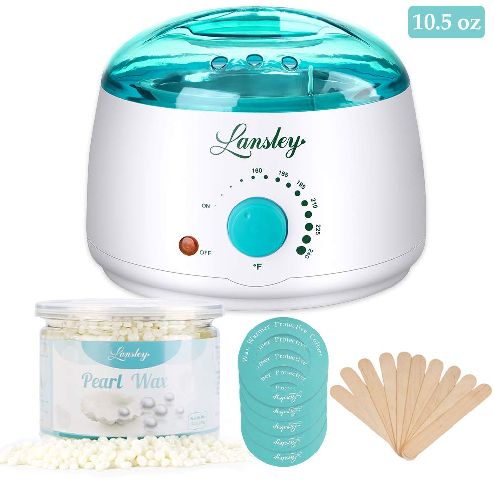 Wax Warmer, Lansley Hair Removal Waxing Kit Hard Wax Beans for Face Full Body Eyebrow Legs Bikini Area with 10.5 oz Lemon Pearl Hard Wax 10 Applicator Spatulas Fresh Painless At Home Waxing