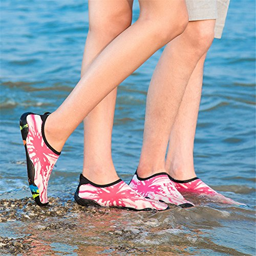 Pictures of Water Shoes for Women Men Barefoot Quick-Dry Beach Swim Shoes Aqua Socks Unisex Water Sports Shoes (42,WHPK) 2