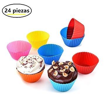 Daoseng moldes de silicona (Set de 24) moldes para cupcakes magdalenas y Cupcakes antiadhérent y apilables para almacenaje fácil/silicona alimentaria/sin ...