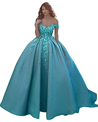 86f280224fb Jazylynbride Gorgeous Ball Gown Off The Shoulder Long Satin Prom Dress  Sleeveless Evening Gown with Pockets at Amazon Women s Clothing store