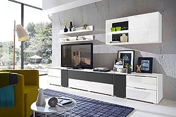 7-tlg Wohnwand in Hochglanz weiß/grau mit Akustik-Fächern und LED ...