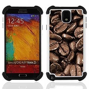 BullDog Case - FOR/Samsung Galaxy Note3 N9000 N9008V N9009 / - / Coffee Beans Macro /- H??brido Heavy Duty caja del tel??fono protector din??mico - silicona suave