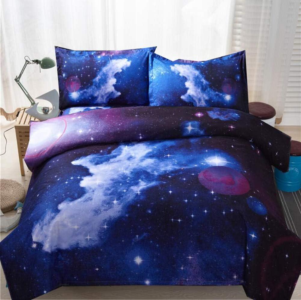 Pangzi Galaxy Print Bedding 3D Star Bedding Set (No Comforter) (Queen, Color-A)