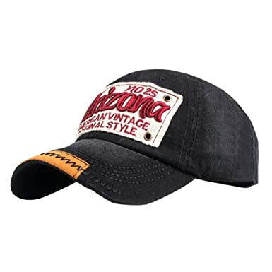 43b05d78501 Kingko  Arizona Letter Patch Cotton Vintage No.25 Baseball Cap Trucker Hat  (A)  Amazon.co.uk  Clothing
