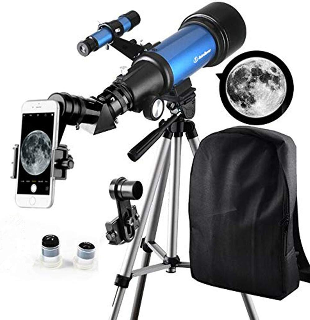 Telescope for Kids Beginners - Travel Scope 70mm Apeture Portable Telescope for Early Development Science with Backpack for Travel Carry Easily by SOLOMARK