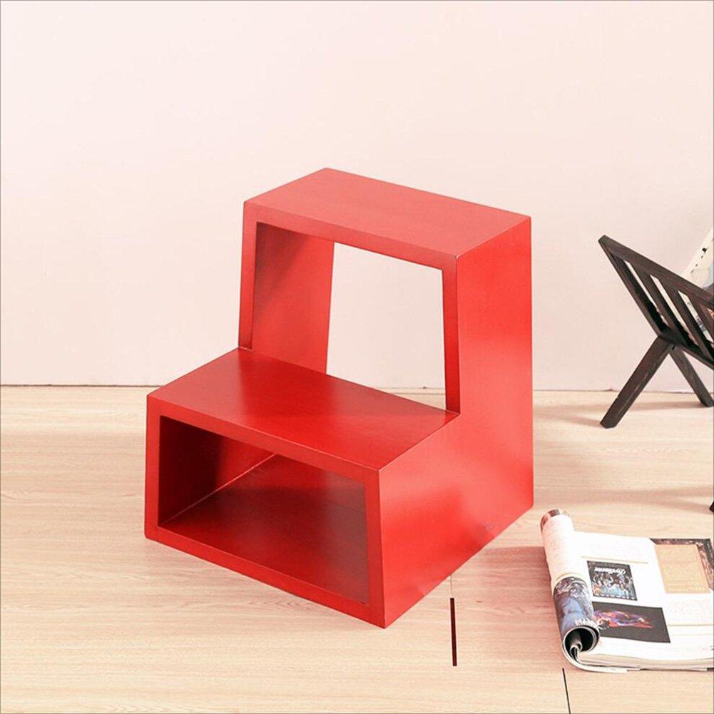 PENGFEI 無垢材 ステップスツール 階段 多機能 靴のベンチ フットスツール、 2ステップ 4色 脚立 踏み台ステップ チェア (色 : 赤) B07DB9HCD3 赤 赤