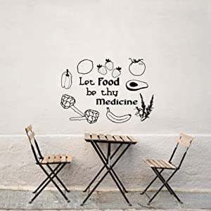 LDSZZ Black Vinyl Stickers Quote Let Food Be Thy Medicine Wall Decal Fruit and Vegetable Wall Sticker for Kitchen Restaurant 42X58Cm