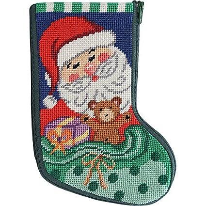 Needlepoint Christmas Stocking Kits.Amazon Com Stitch Zip Santa And Toys Mini Stocking