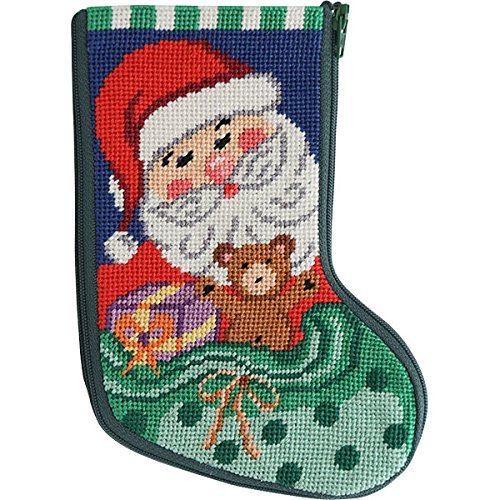 Stitch & Zip Santa and Toys Mini Stocking Needlepoint Kit Alice Peterson sz1005