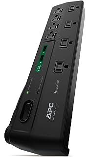 amazon com apc 7 outlet surge protector 840 joules surgearrest apc 8 outlet surge protector 2630 joules usb charger ports surgearrest p8u2