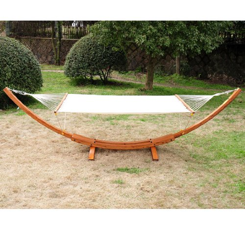 Outsunny Double Wide Wood Arc Outdoor Hammock & Stand Set