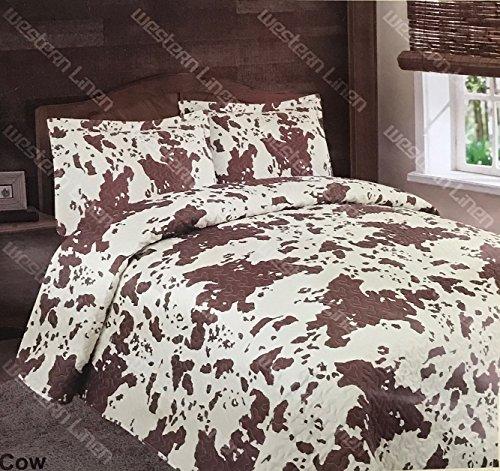 Linen Mart 3 Piece Cowhide Print Quilt Rustic Western Bedspread Bedding Set! ()