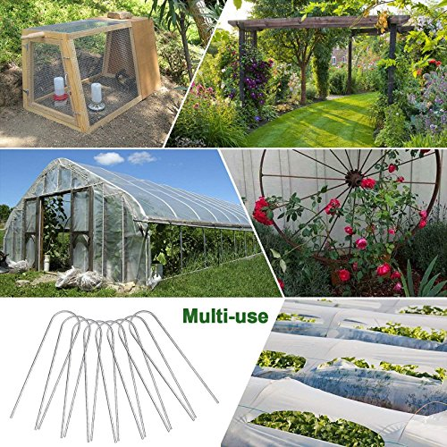 KORAM 6 Inch Garden Staples Drip Irrigation Tubing Stakes Galvanized Anti-Rust Hoop Staples Stakes Weed Barrier for 1/2-Inch Tubing with Plant Garden Labels, Pack of 50