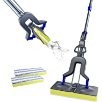 Sponge Mop with Super Absorption Sponge Head and Stainless Steel Handle,Household Sponge Floor Mop Masthome