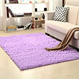 Carpets, CAMAL Soft Fluffy Silk Wool Carpet Suitable for Living Room Bedroom and Children's Room (100x160cm, Purple)