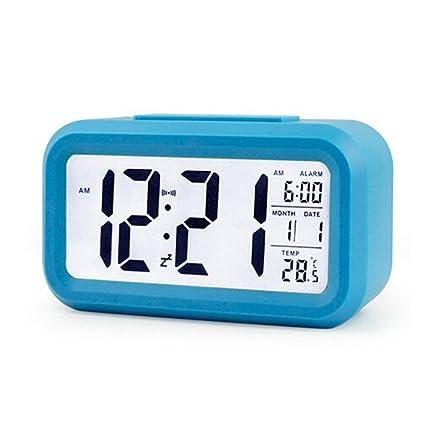 avelaiva LED luminoso Smart reloj digital reloj despertador con función Snooze Sensor de gran pantalla HD