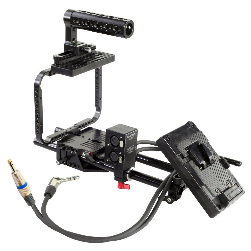 Camtree Huntアルミカメラケージキットfor Blackmagic Cinema Camera/Production Camera 4 K/BMCC  調整可能なトップハンドル+ 15 mmロッドサポート+バッテリーマウントプレート& A – ボックス(ch-sc-abbp)   B00M6Y0K58