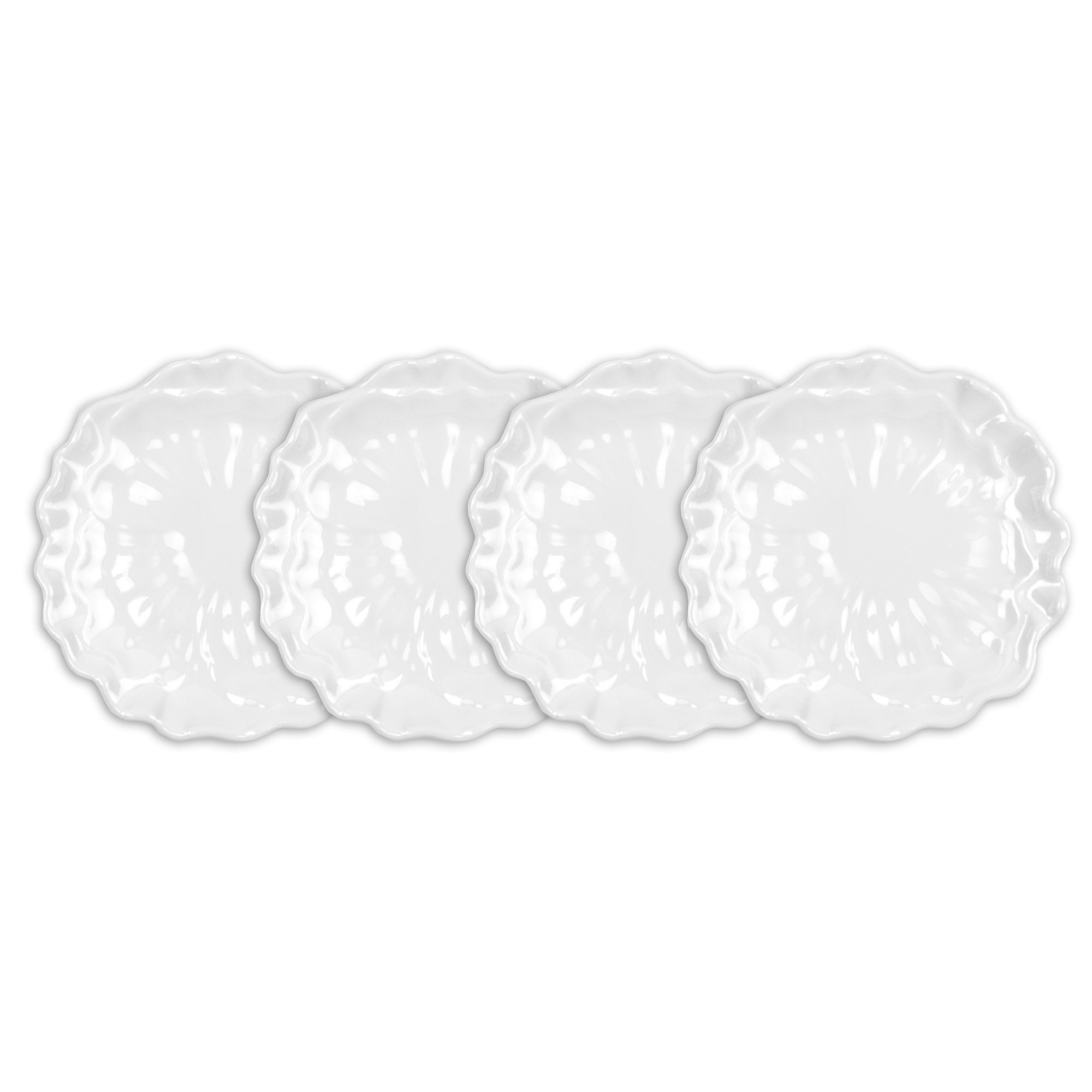 Q Squared Peony BPA-Free Melamine Appetizer Plate, 5-1/2 Inches, Set of 4, White