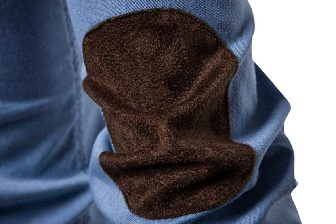 Alion Men Casual Regular Fit Button Down Dress Shirt Long Sleeve Denim Shirts