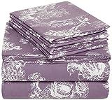 Pinzon 170 Gram Velvet Flannel Sheet Set – Queen, Floral Lavender