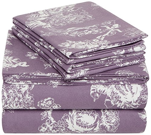 Pinzon Cotton Flannel Bed Sheet Set - Queen, Floral Lavender