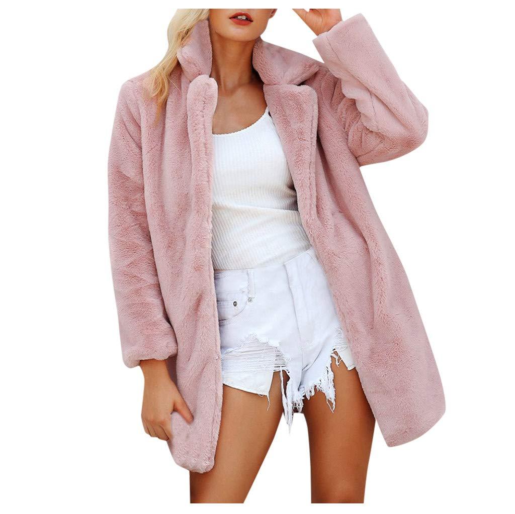 Dainzuy Faux Fur Jackets for Women Open Front Shaggy Long Sleeve Winter Warm Lapel Fox Faux Fur Overcoat Outwear Pink by Dainzuy Women Winter Clothes