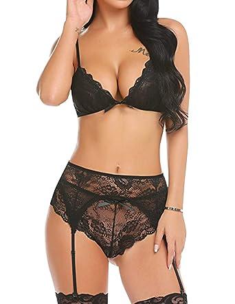 f86a6b040 Sexy Lingerie Set for Women for Sex Floral Lace Mesh Sheer Garter Belt  Bodysuit Badydoll Sexy See Through Temptation Lingerie Underwear Set Brief  Nightwear ...
