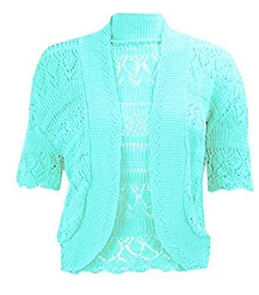 Womens Crochet Knitted Bolero Shrug Top Ladies Short Sleeve ...