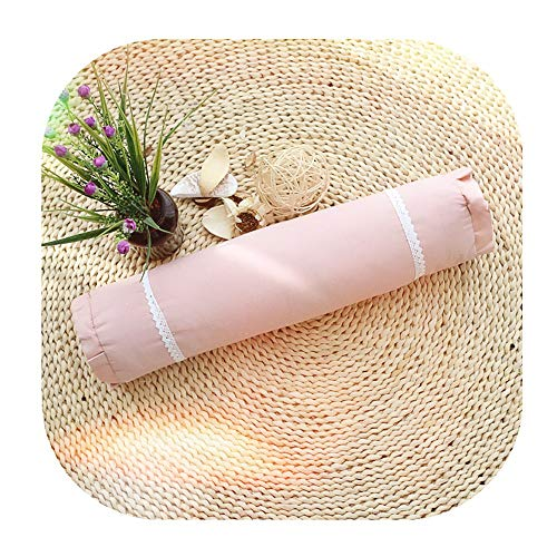 Edomi Cervical Roll Pillow, Breathable Buckwheat Round Cylindrical Neck Pillows Lumbar Support Bolster for Relieve Spine and Neck Pain 16x4 inch Natural Buckwheat Hulls Concealed Zipper, Macaron Pink