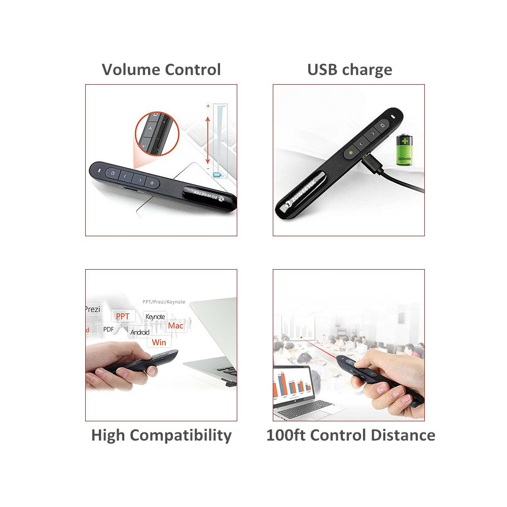 Zoweetek Rechargeable Wireless PowerPoint Presentation Clicker with Red Laser Pointer and Volume Control, 2.4GHz PPT Remote Control Presenter Flip Pen