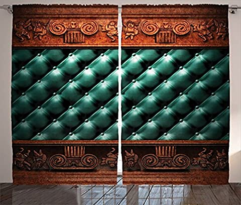 Victorian Decor Collection Wooden Ornament on Leather Couch Bed Headboard Panel Wood Molding Plaque Print Living Room Bedroom Curtain 2 Panels Set Light Sea - Homestyles Leather Sofa